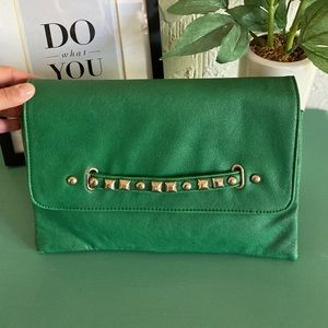 Vintage Clutch Green with Gold Accents